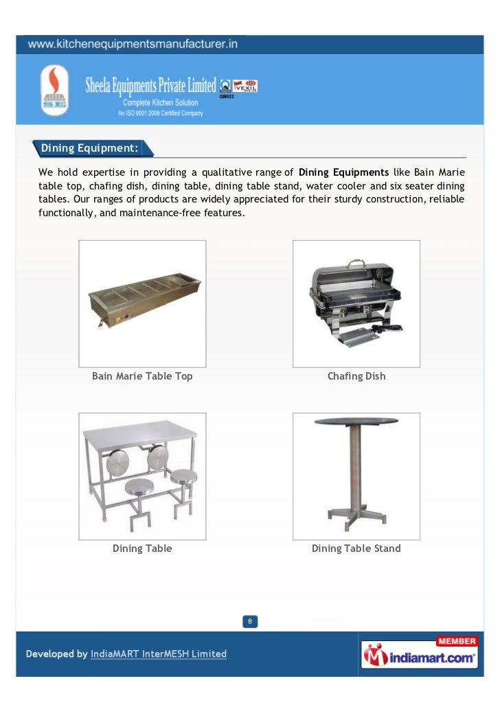 Dining Equipment:We hold expertise in providing a qualitative range of Dining Equipments like Bain Marietable top, chafing...