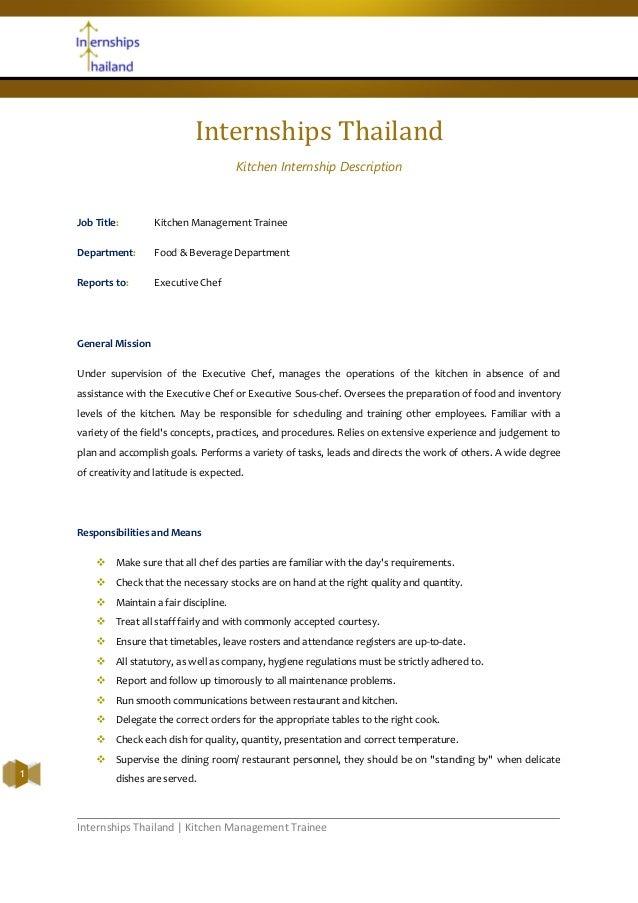 Internships Thailand | Kitchen Management Trainee1Internships ThailandKitchen Internship DescriptionJob Title: Kitchen Man...