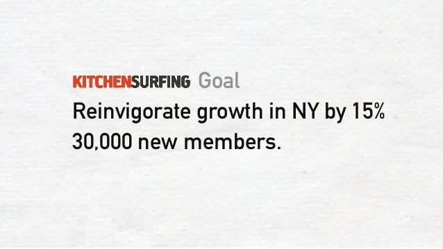 goal reinvigorate growth in ny by 15 30000 new members - Kitchen Surfing