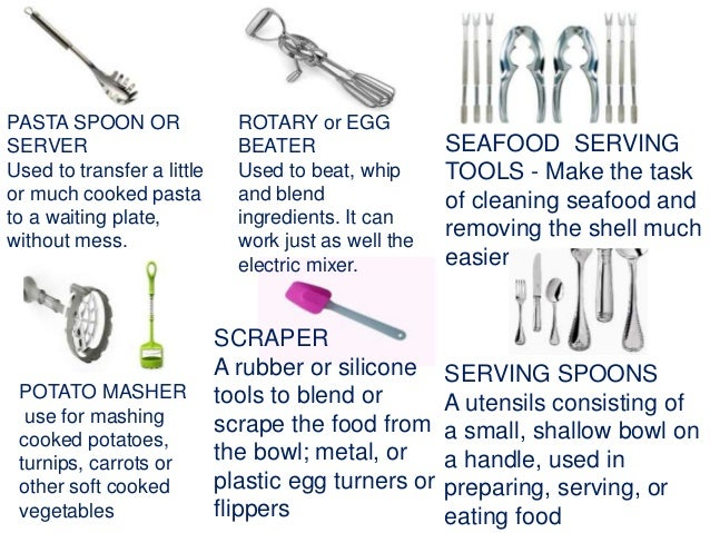 Kitchen Utensils Pictures And Names Their Uses Slideshare