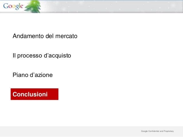 Andamento del mercatoIl processo d'acquistoPiano d'azioneConclusioni                         Google Confidential and Propr...