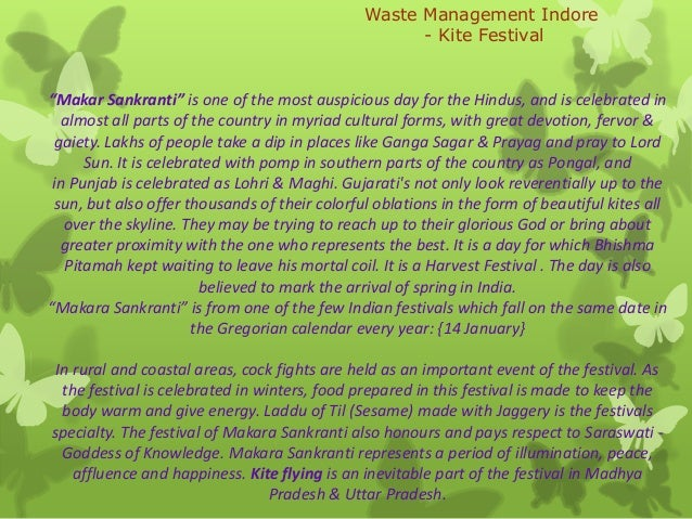 """Waste Management Indore - Kite Festival  """"Makar Sankranti"""" is one of the most auspicious day for the Hindus, and is celebr..."""