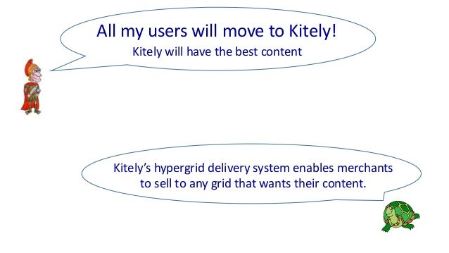 Kitely's hypergrid delivery system enables merchants to sell to any grid that wants their content. Kitely will have the be...