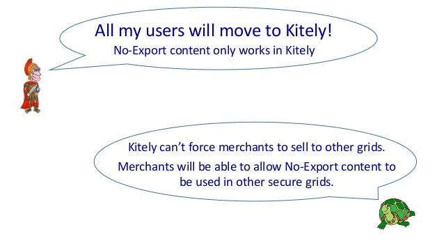 Kitely can't force merchants to sell to other grids. Merchants will be able to allow No-Export content to be used in other...