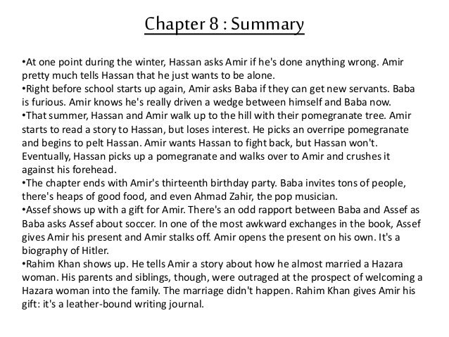 kite runner chapter summary During the first few chapters of the kite runner, it started off with one of the main characters, amir as an adult living in san francisco and getting a.