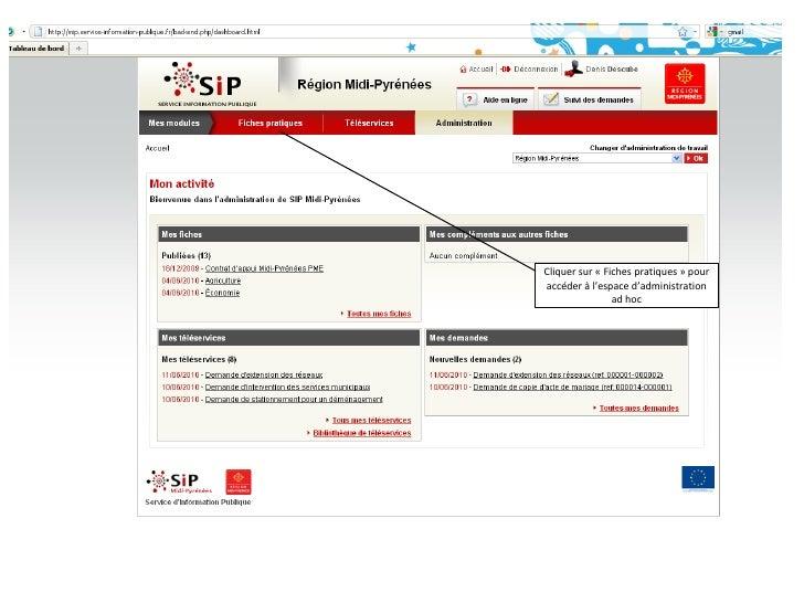 Cliquer sur «Fiches pratiques» pour accéder à l'espace d'administration ad hoc<br />