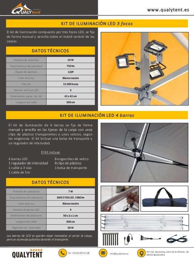 KIT DE ILUMINACIÓN LED 3 focos www.qualytent.es Tel. +34 93 497 61 08 info@qualytent.es Pol. Ind. Bonavista, Camí de la Pe...