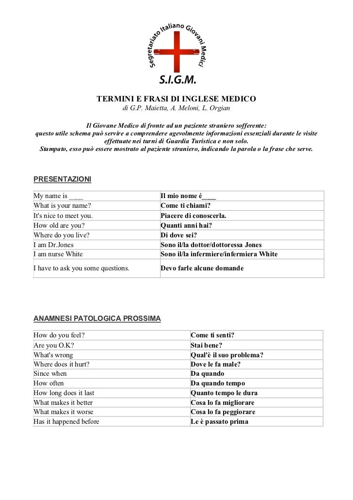 TERMINI E FRASI DI INGLESE MEDICO                              di G.P. Maietta, A. Meloni, L. Orgian                  Il G...