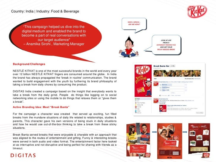 objectives of kitkat Marketing kit kat friday objectives of sales: kit kat was first advertised on tv back in 1957 and its first color advert in 1967 in 2004 a massive 39000.