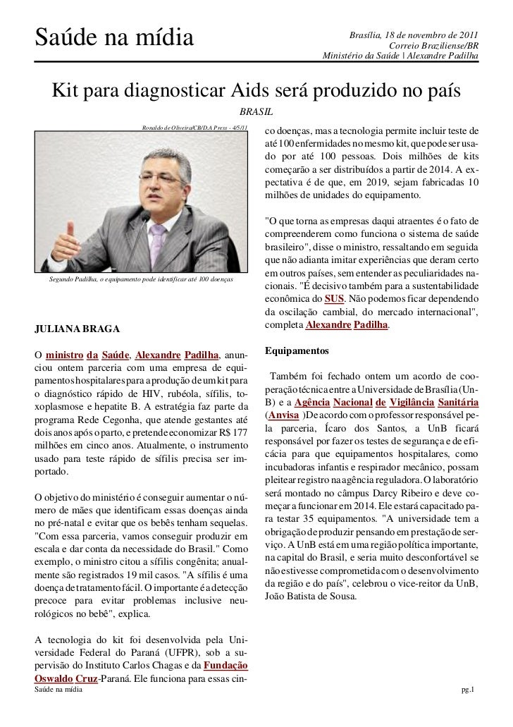 Saúde na mídia                                                                                      Brasília, 18 de novemb...