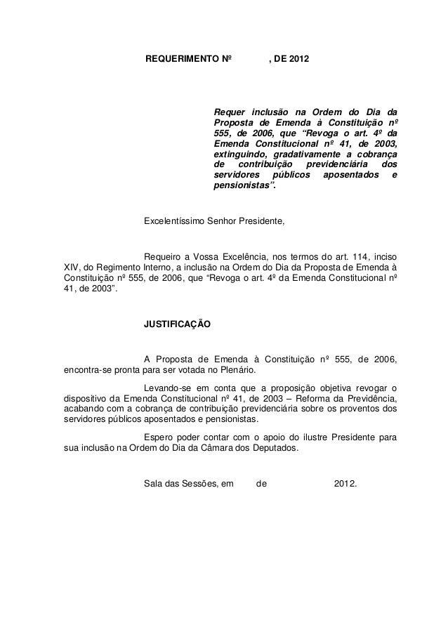 REQUERIMENTO Nº                , DE 2012                                   Requer inclusão na Ordem do Dia da             ...