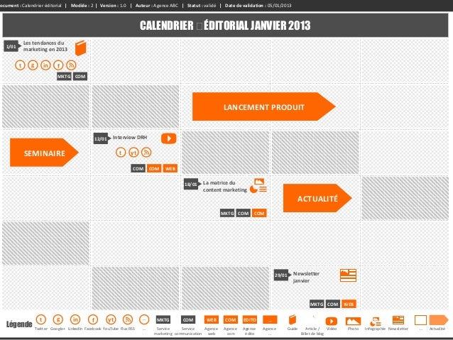 Calendrier Editorial Modele.Kit Du Producteur De Contenus Web Version 0 7