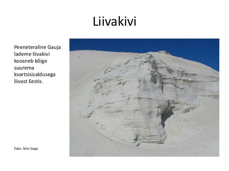 LiivakiviPeeneteraline Gaujalademe liivakivikoosneb kõigesuuremakvartsisisaldusegaliivast Eestis.Foto: Siim Sepp