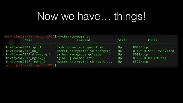 Tips, Tricks, Caveats Container LifeCycle docker-compose start/stop/restart Affects the EXISTING CONTAINER. NOTHING IS CHA...
