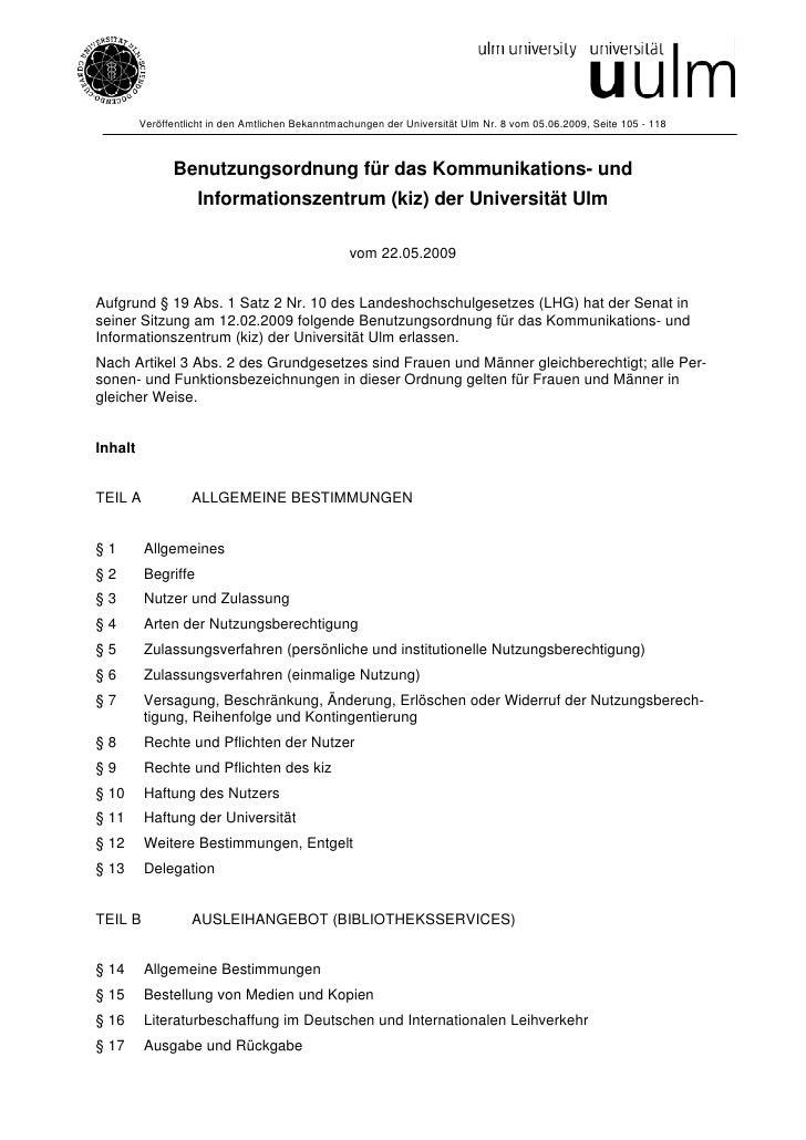 Veröffentlicht in den Amtlichen Bekanntmachungen der Universität Ulm Nr. 8 vom 05.06.2009, Seite 105 - 118               B...