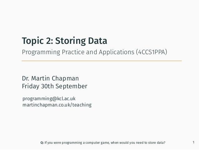 Programming in Java: Storing Data