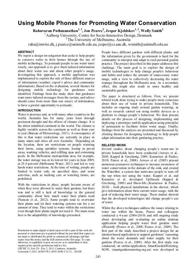 Using Mobile Phones for Promoting Water Conservation             Rahuvaran Pathmanathan1, 2, Jon Pearce2, Jesper Kjeldskov...