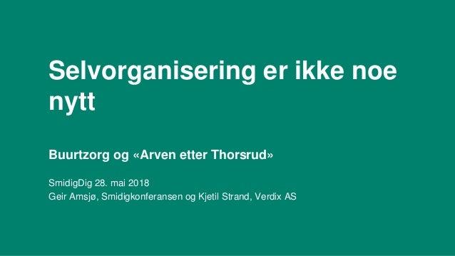 Selvorganisering er ikke noe nytt Buurtzorg og «Arven etter Thorsrud» SmidigDig 28. mai 2018 Geir Amsjø, Smidigkonferansen...
