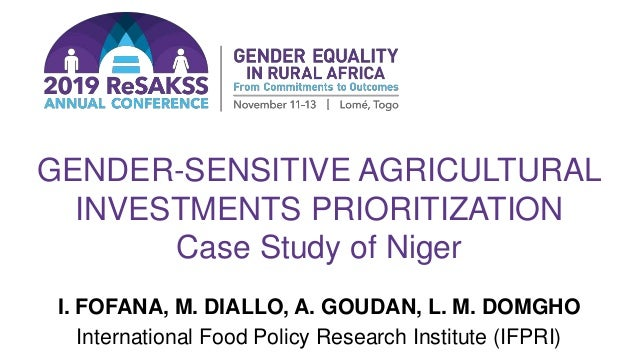 GENDER-SENSITIVE AGRICULTURAL INVESTMENTS PRIORITIZATION Case Study of Niger I. FOFANA, M. DIALLO, A. GOUDAN, L. M. DOMGHO...
