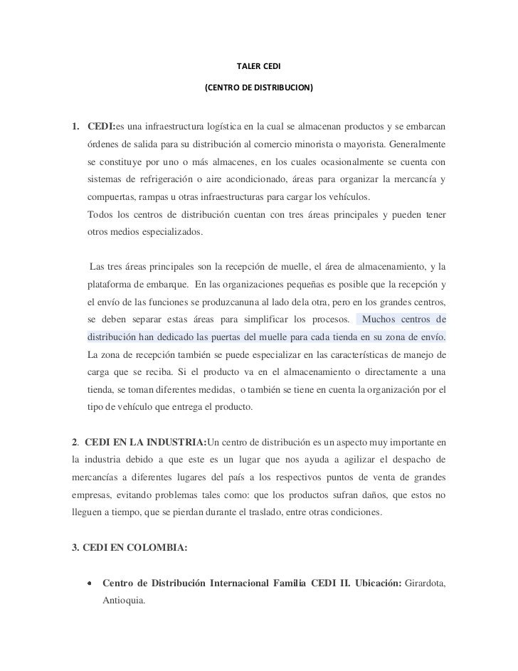 TALER CEDI <br />(CENTRO DE DISTRIBUCION)<br />CEDI:es una infraestructura logística en la cual se almacenan productos y s...