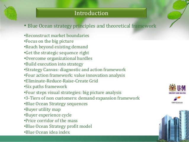 the application of blue ocean strategy Providing bos blue ocean strategy information the blue ocean strategy shows the simultaneous pursuit of differentiation and low cost strategies.