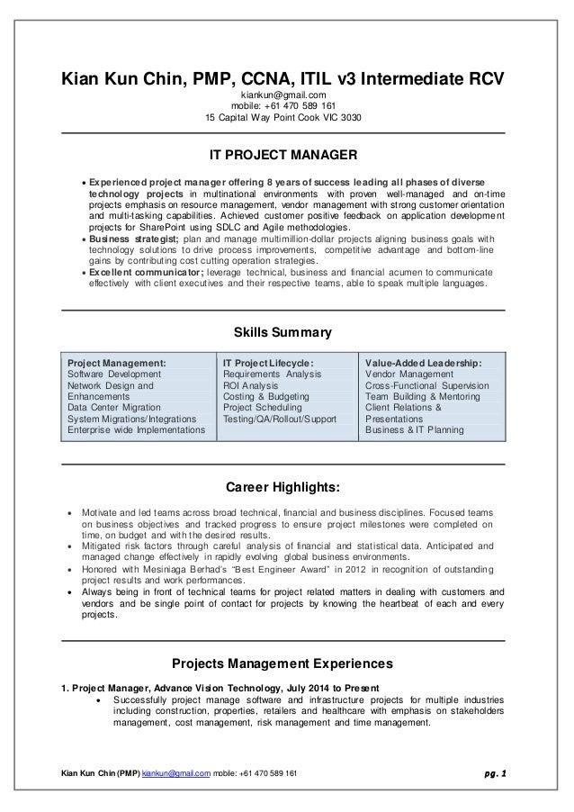 Kent IT PM CV