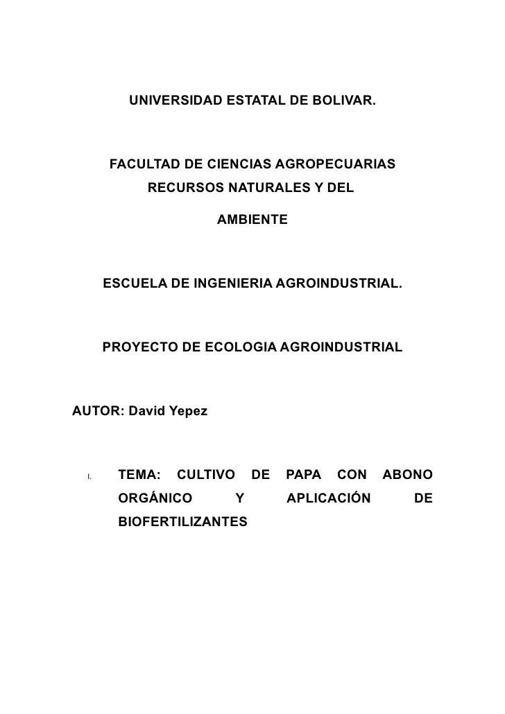 UNIVERSIDAD ESTATAL DE BOLIVAR.           FACULTAD DE CIENCIAS AGROPECUARIAS             RECURSOS NATURALES Y DEL         ...