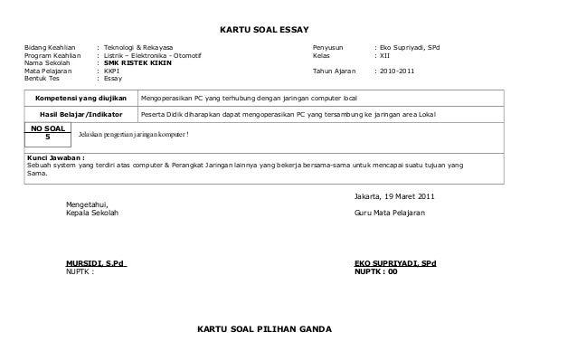 Kkpi Kartu Soal Essay Amp Ganda 2010 2011