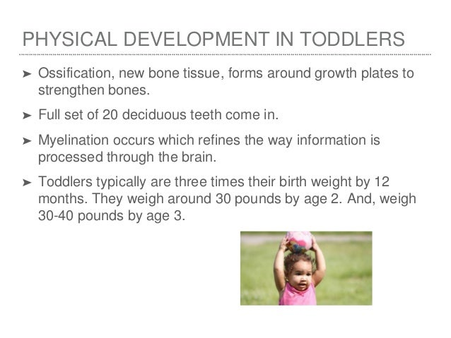 toddler development Toddler and baby development stages the toddler and baby development stages section gives information on the usual age developmental milestones are reached in the first five years of life.