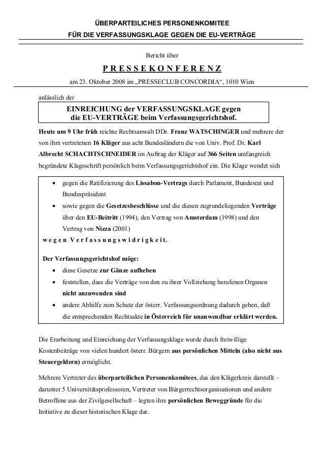 ÜBERPARTEILICHES PERSONENKOMITEE FÜR DIE VERFASSUNGSKLAGE GEGEN DIE EU-VERTRÄGE Bericht über P R E S S E K O N F E R E N Z...