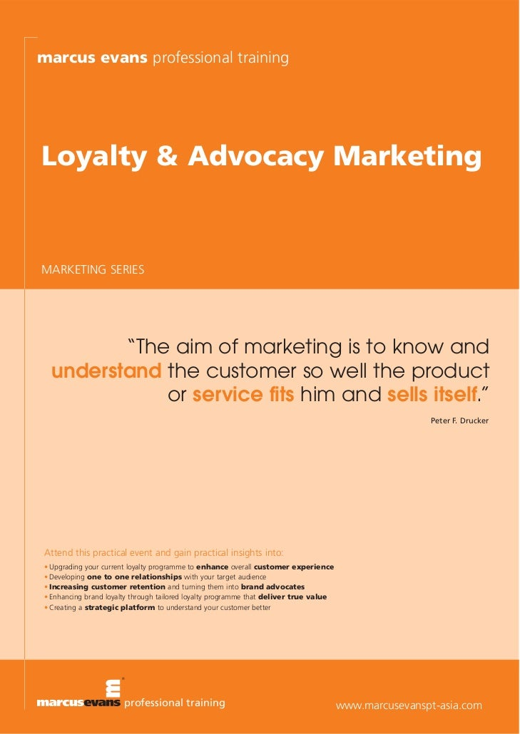 marcus evans professional training        Loyalty & Advocacy MarketingThis event is endorsed by the Chartered Institute of...