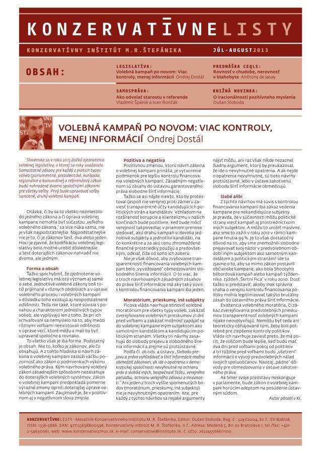 Konzervatívne listy /júl-august 2013/
