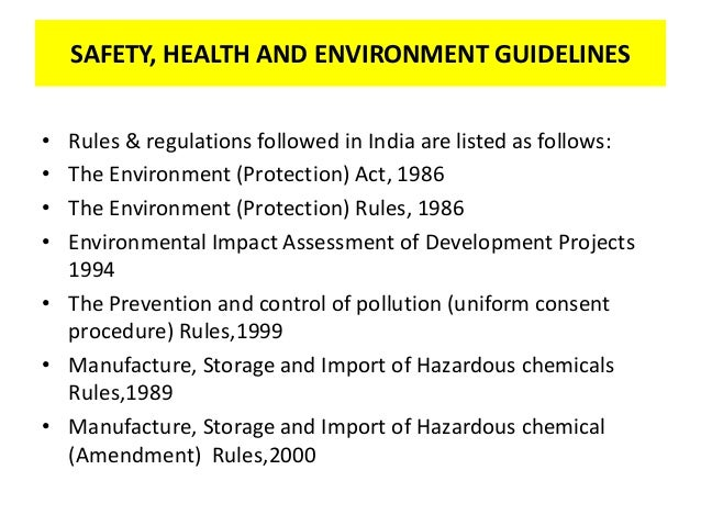 Occupational safety and health for Construction rules and regulations