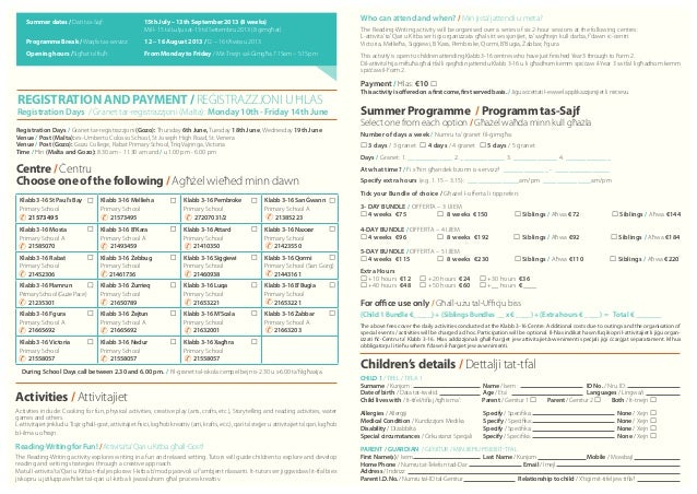 Klabb3 16 summer registration form-2013