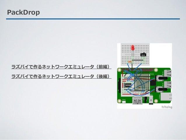 PackDrop ラズパイで作るネットワークエミュレータ(前編) ラズパイで作るネットワークエミュレータ(後編)
