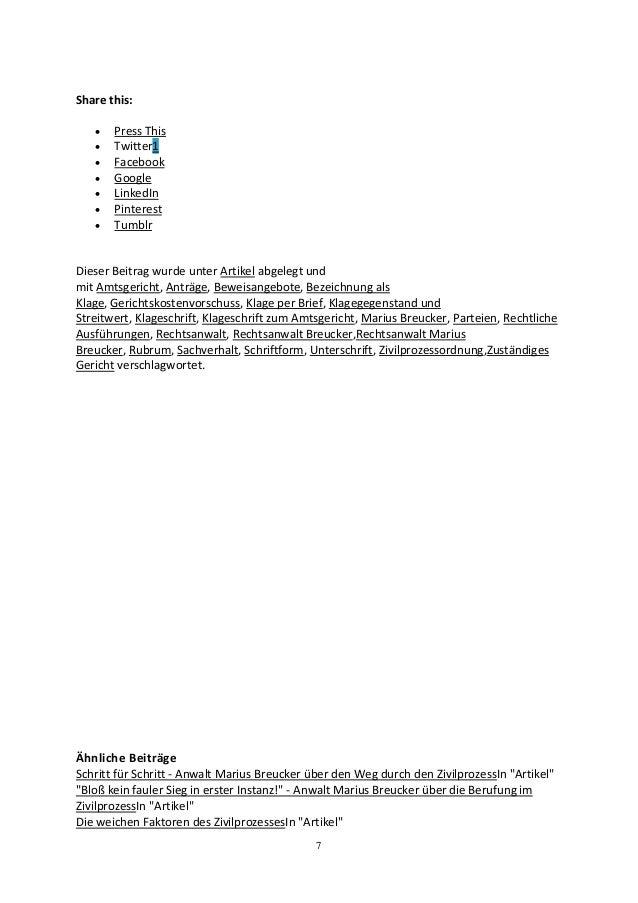 Klageschrift zum Amtsgericht – Checkliste mit Hinweisen