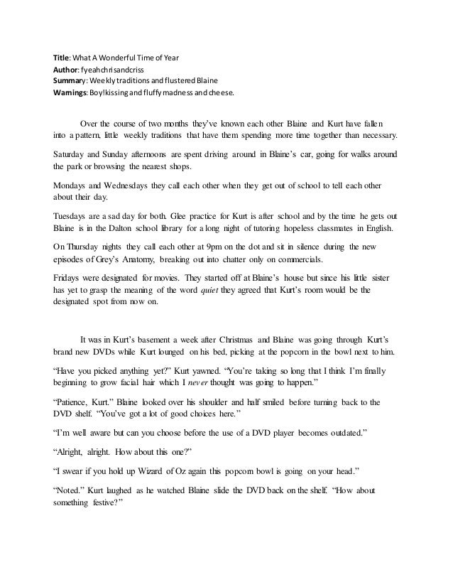 Title:What A Wonderful Time of Year Author: fyeahchrisandcriss Summary: WeeklytraditionsandflusteredBlaine Warnings:Boy!ki...