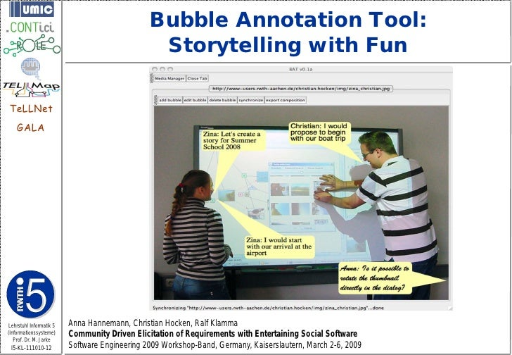 Bubble Annotation Tool:                                                Storytelling with FunTeLLNet    GALALehrstuhl Infor...