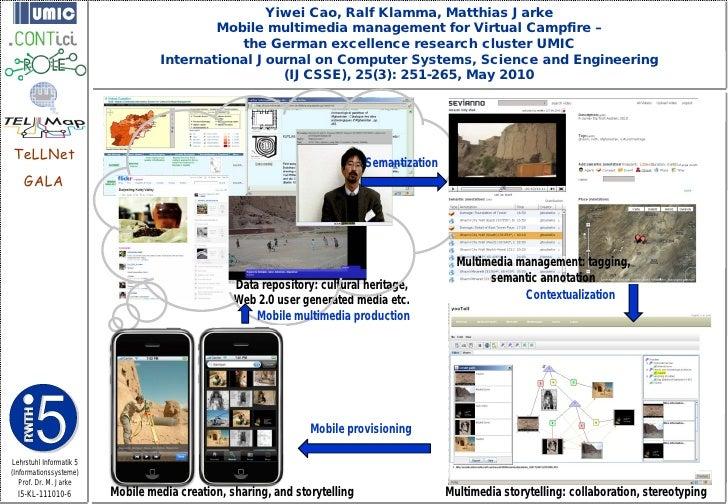 Yiwei Cao, Ralf Klamma, Matthias Jarke                                          Mobile multimedia management for Virtual C...