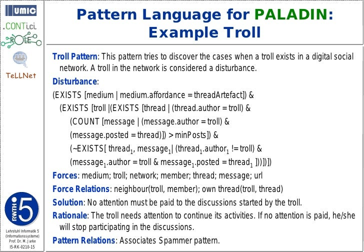 Pattern Language for PALADIN:                                          Example Troll                          Troll Patter...
