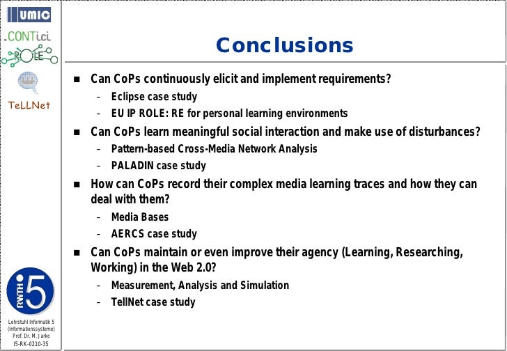 Conclusions                             Can CoPs continuously elicit and implement requirements?                         ...