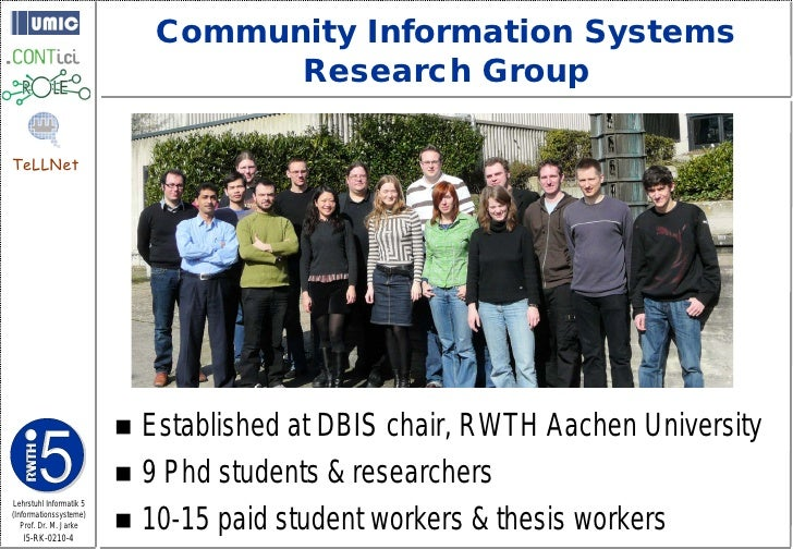 Community Information Systems                                    Research Group  TeLLNet                               Es...