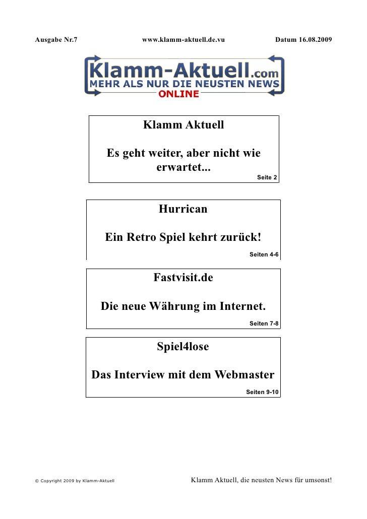 Ausgabe Nr.7                        www.klamm-aktuell.de.vu                Datum 16.08.2009                               ...