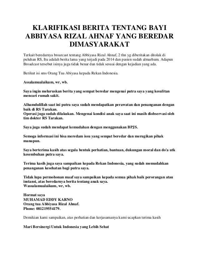 KLARIFIKASI BERITA TENTANG BAYI ABBIYASA RIZAL AHNAF YANG BEREDAR DIMASYARAKAT Terkait beredarnya broarcast tentang Abbiya...