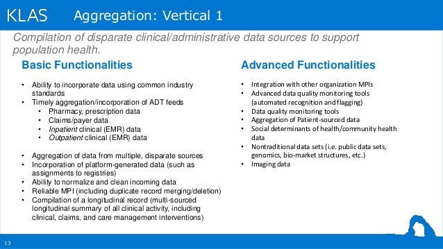 13 Aggregation: Vertical 1 Basic Functionalities • Ability to incorporate data using common industry standards • Timely ag...