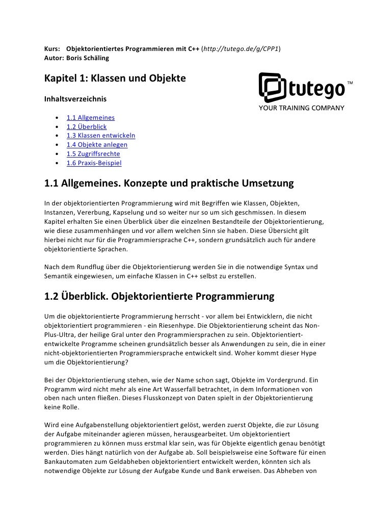 Kurs: Objektorientiertes Programmieren mit C++ (http://tutego.de/g/CPP1) Autor: Boris Schäling  Kapitel 1: Klassen und Obj...