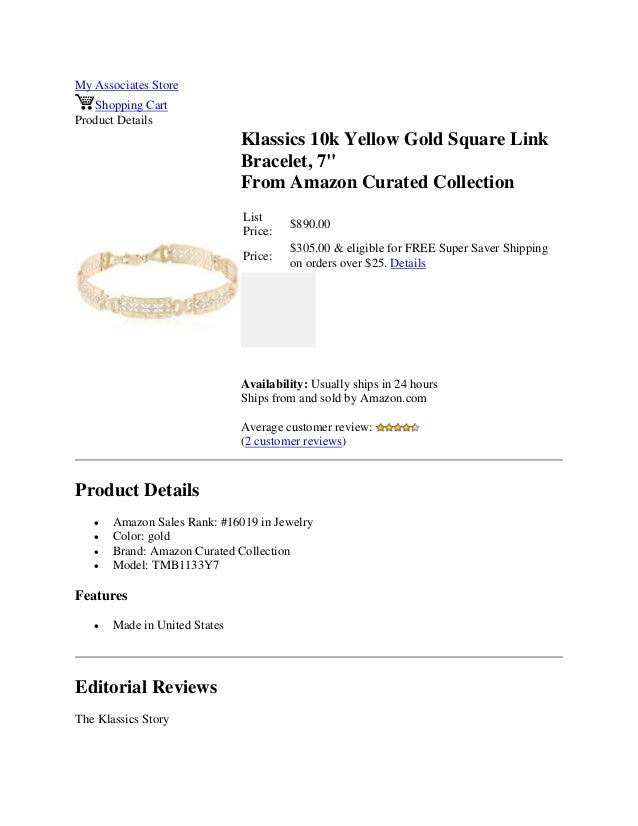 """My Associates StoreShopping CartProduct DetailsKlassics 10k Yellow Gold Square LinkBracelet, 7""""From Amazon Curated Collect..."""