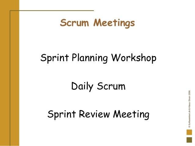 ©Softwaretest.dk&KlausOlsen2008. Scrum Meetings Sprint Planning Workshop Daily Scrum Sprint Review Meeting