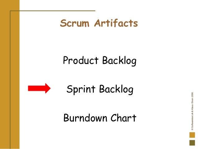 ©Softwaretest.dk&KlausOlsen2008. Scrum Artifacts Product Backlog Sprint Backlog Burndown Chart