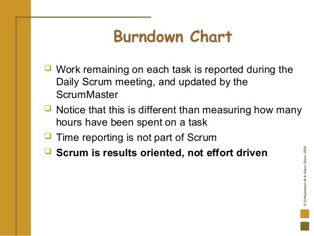 ©Softwaretest.dk&KlausOlsen2008. Burndown Chart  Work remaining on each task is reported during the Daily Scrum meeting, ...